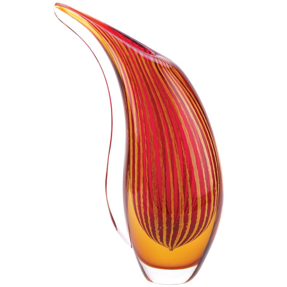 Dramatic Freeform Sunset Art Glass VASE