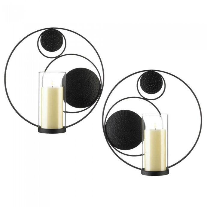 Set of 2 Circles-in-Circles Black Metal Wall SCONCES