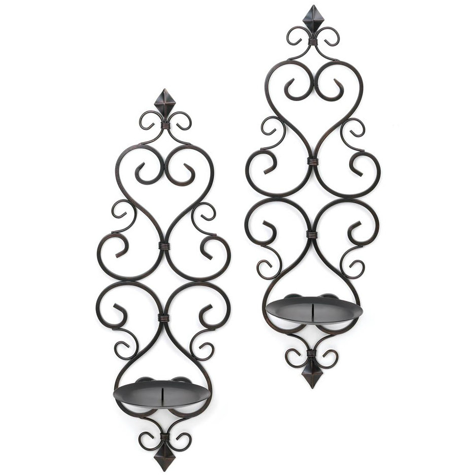Scrolled Metal Wall Sconce Pair