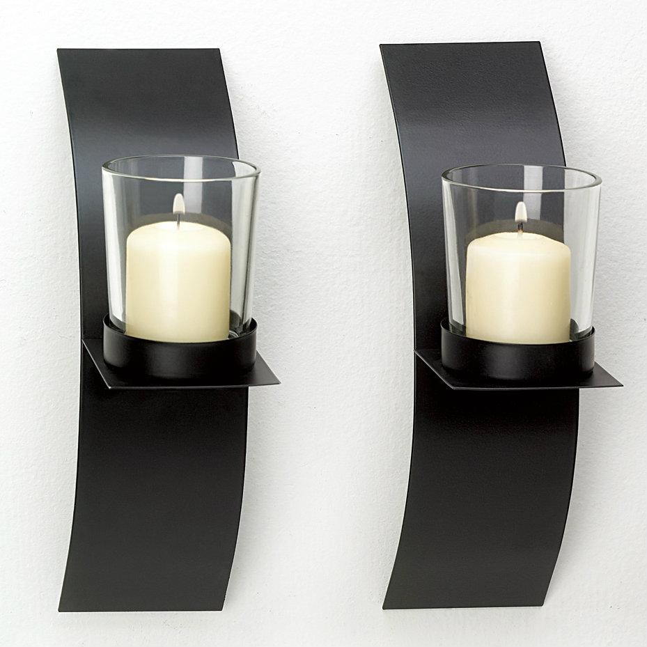 Modern Matte Black Wall Candle Holder Pair